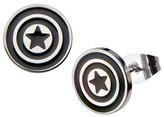 Marvel Women's Captain America Shield Logo Stainless Steel Enamel Stud Earrings