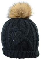 Crown Cap Hand-Knit Toque Hat w/ Fur Pompom