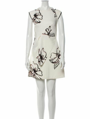 Roland Mouret Floral Print Mini Dress White