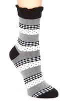 Me Moi Black & White Pattern Mix Anklet Socks