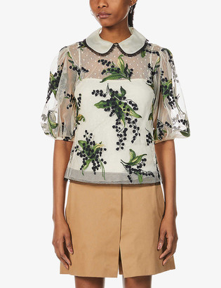 RED Valentino May Lily floral tulle top