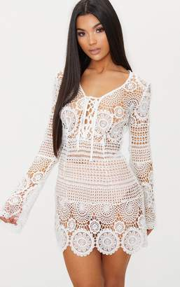 PrettyLittleThing White Tie Front Flare Sleeve Crochet Lace Bodycon Dress