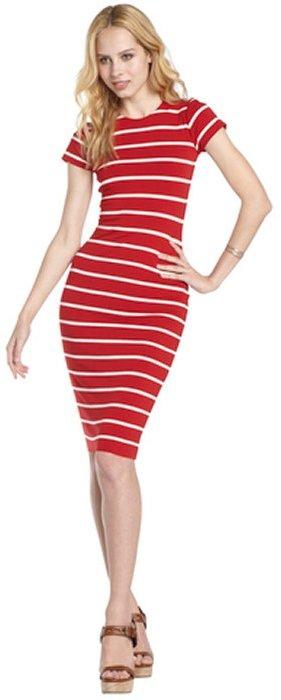 Nadia Tarr red stripe stretch t-shirt pencil dress