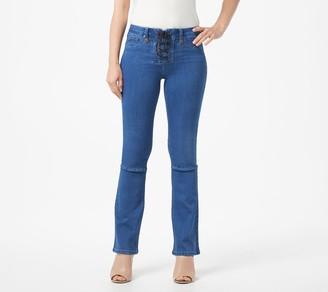 Laurie Felt Petite Indigo Silky Denim Lace Front Boot-Cut Jeans