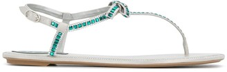 Rene Caovilla Crystal-Embellished Thong Sandals