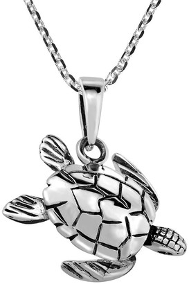 Aeravida Handmade Ocean Elegance Sea Turtle Sterling Silver Necklace