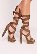Missguided Wrap Around Platform Sandals Brown