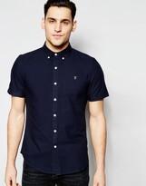 Farah Oxford Shirt In Slim Fit Short Sleeves