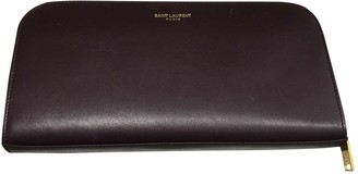 Saint Laurent Burgundy Leather Wallets