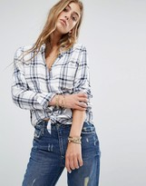 Lovers + Friends Tie Front Check Shirt