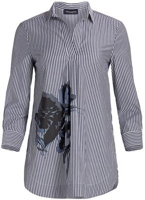 Piazza Sempione Eugenia Floral & Stripe Stretch Cotton Tunic Top