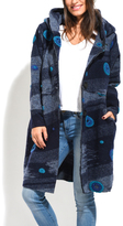 Everest Blue Abstract Wool-Blend Peacoat
