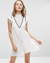 Asos Occasion High Neck Lace Insert Romper