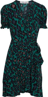 Diane von Furstenberg Emilia Ruffled Leopard-print Crepe Mini Wrap Dress