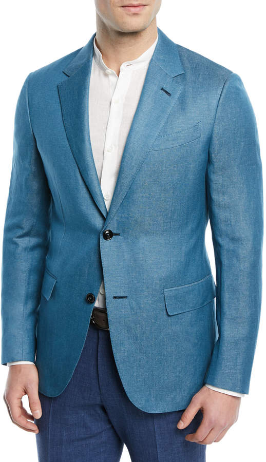 Ermenegildo Zegna Textured Cashmere-Linen Blazer