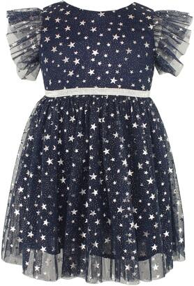 Popatu Kids' Foil Star Flutter Sleeve Dress