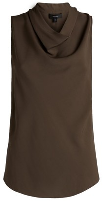 Theory Silk Cowl-Neck Sleeveless Top
