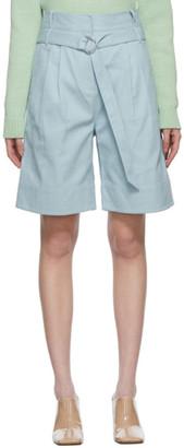 Tibi Blue Gabardine Stella Shorts