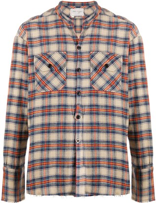 Greg Lauren Classic Studio distressed flannel shirt