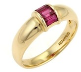 Tiffany & Co. 18K Yellow Gold Ruby Stack Band Ring Size 4