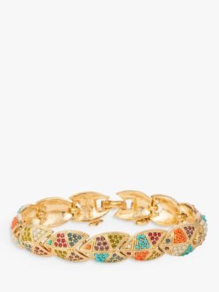 Susan Caplan Vintage D'Orlan 22ct Gold Plated Swarovski Crystal V-Link Bracelet, Gold/Multi