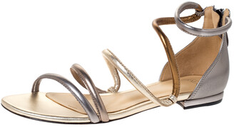 Alexandre Birman Metallic Silver/Gold Gianny Strappy Flat Metallic Leather Sandals 36