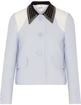 Miu Miu Crystal-embellished Cady Jacket - Sky blue
