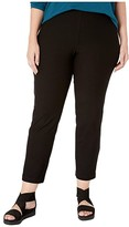 Eileen Fisher Plus Size Washable Stretch Crepe Slim Ankle Pants w/ Side Zipper (Black) Women's Casual Pants