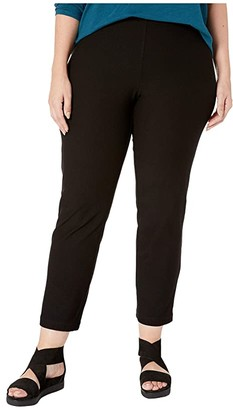 Eileen Fisher Plus Size Washable Stretch Crepe Slim Ankle Pants w/ Side Zipper (Black) Women's Casual Pants