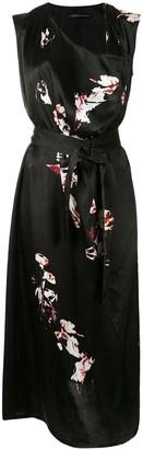 Y's Draped Floral Midi Dress