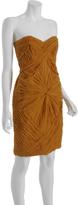 Castle Starr marigold ruched silk chiffon strapless dress