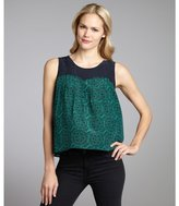 Geren Ford kelly green and navy maze print silk woven 'Catherine' pleated top
