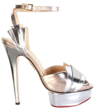 Charlotte Olympia Metallic Pink Leather Decodent Sandals Size 38.5