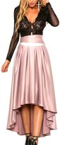 U-WARDROB Women's High-Low A-Line Maxi Skirt with Sash Solid S