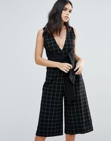 Adelyn Rae Plaid V-Neck Jumpsuit w/ Tie Front