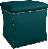 The Well Appointed House Nail Button Storage Ottoman in Mystere Peacock