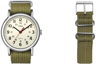 Timex Unisex Special Weekender Slip Through Quartz with Off- Dial Analogue Display and Nylon Slip Strap (Green)
