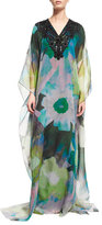 Badgley Mischka Embellished-Neck Floral-Print Caftan, Green Floral