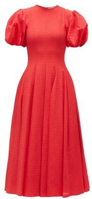Emilia Wickstead Doreen Puff-sleeve Seersucker Dress - Womens - Red