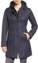 Larry Levine Women's Two-Tone Hooded Bib Quilted Coat