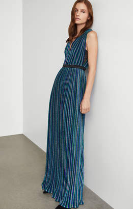 BCBGMAXAZRIA Metallic Pleated Gown