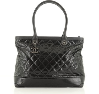 Chanel CC Charm Zip Tote Quilted Coated Canvas Medium