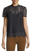 Rebecca Minkoff Yasmin High-Neck Short-Sleeve Lace Blouse