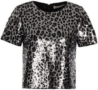 MICHAEL Michael Kors Leopard-print Sequined Jersey Top