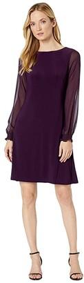 Lauren Ralph Lauren Jersey Georgette-Sleeve Dress (Raisin) Women's Dress