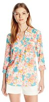 Notations Women's 3/4 Roll Tab Sleeve Y Neck Button Front Blouse