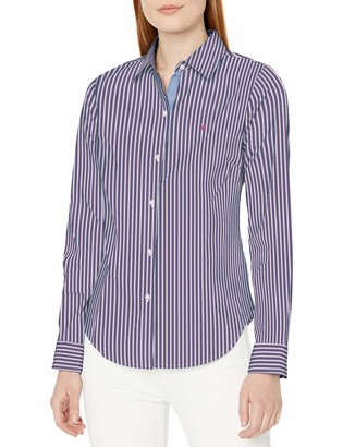 Nautica Women's Long Striped Stretch Shirt with Chambray Trim Sleeve