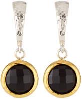 Gurhan Small Wide Hoop Earrings w/ Black Onyx Drop