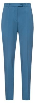HUGO BOSS Slim Fit Pants In Pique Fabric With Logo Ribbon Trim - Dark Blue