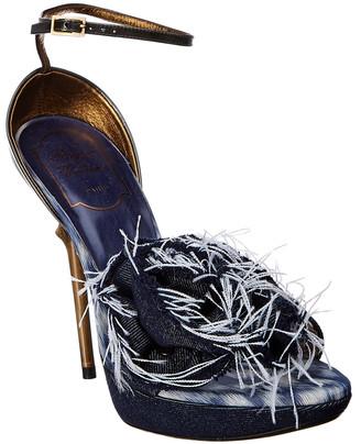 Roger Vivier Denim Ankle-Strap Platform Sandal